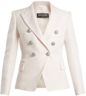 Balmain Double-breasted peak-lapel piqué blazer