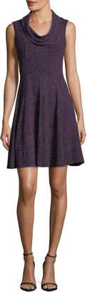 Taylor Metallic-Knit Cowl-Neck Day Dress