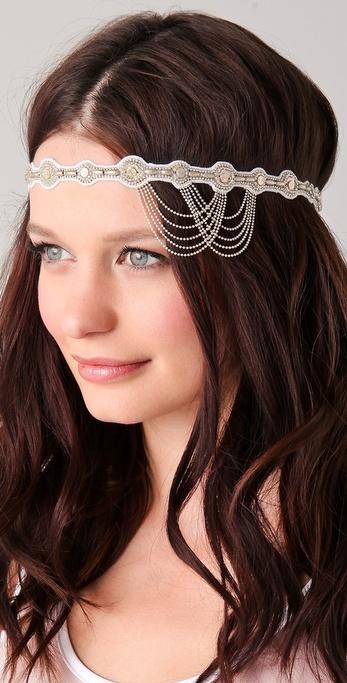 Deepa Gurnani Crystal and Chain Headband