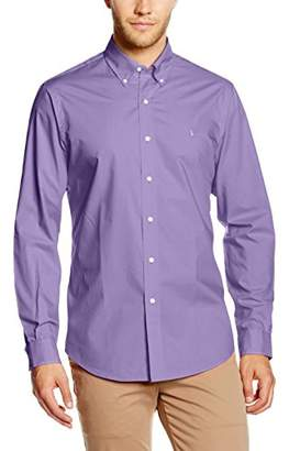 Polo Ralph Lauren Men's BD PPC SP-Long Sleeve-Sport Casual Shirt, (Purple Martin), L