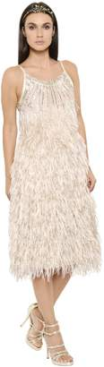Alberta Ferretti Fringed Jacquard Dress