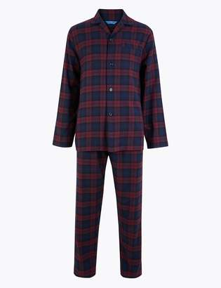 M&S CollectionMarks and Spencer Pure Cotton Checked Pyjama Set