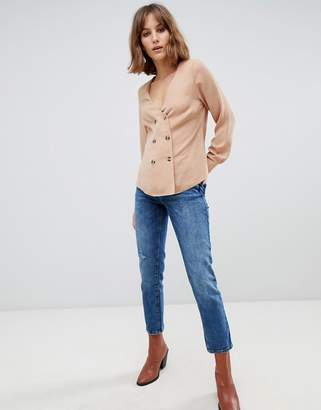 New Look double breasted shirt in camel