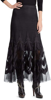 Ralph Lauren 50th Anniversary Micah Embroidered Tulle A-Line Long Skirt