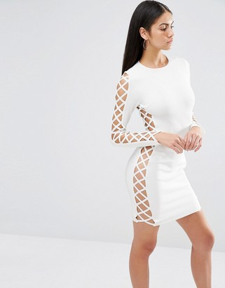 Missguided Premium Bandage Lace Up Side Detail Bodycon Dress $85 thestylecure.com
