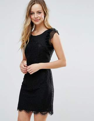 Liquorish Lace Mini Dress With Scalloped Hem