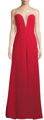 Jill Stuart Strapless Deep V Illusion Gown