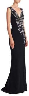 Pamella Roland Metallic Floral Sequin Gown