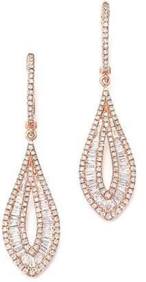 Bloomingdale's Diamond Round & Baguette Drop Earrings in 14K Rose Gold, 1.55 ct. t.w.