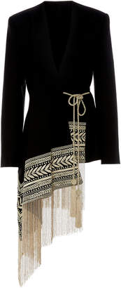 Oscar de la Renta Fringe-Trimmed Embroidered Wool-Blend Blazer