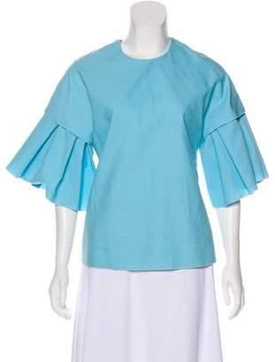 Roksanda Ruffle-Accented Short Sleeve Top