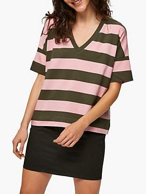 Selected Stripe Cotton T-Shirt, Olive/Rose