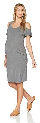 Three Seasons Maternity Women's Cold Shoulder Side Ruche Fitted Dress, Heather Grey, Extra