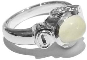Goldmajor Sterling Silver and Oval Moonstone Heavy Fancy Ring- Size R