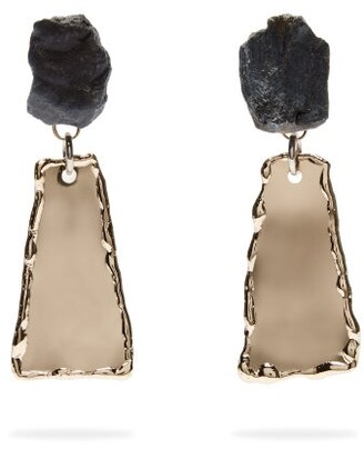 Proenza Schouler Stone Hammered Clip On Earrings - Womens - Blue