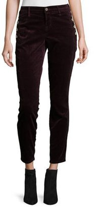J Brand Zion Mid-Rise Velvet Skinny Ankle Jeans, Red $228 thestylecure.com