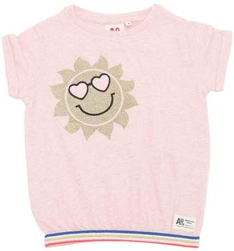 Glittered Sun Cotton Jersey T-Shirt