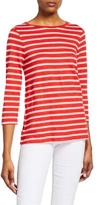 Majestic Striped Boat-Neck 3/4-Sleeve Boxy Top
