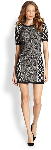 Elizabeth and James Agron Mixed-Print Stretch Knit Dress