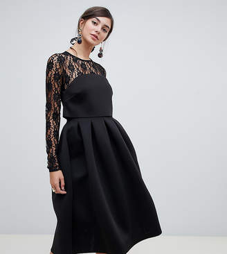Asos Tall TALL Lace Long Sleeve Crop Top Prom Dress