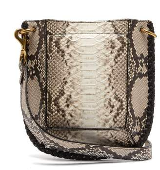 Isabel Marant Nasko Python Effect Leather Cross Body Bag - Womens - Grey Multi