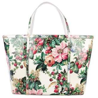 Dolce & Gabbana Printed Leather-Trimmed Tote