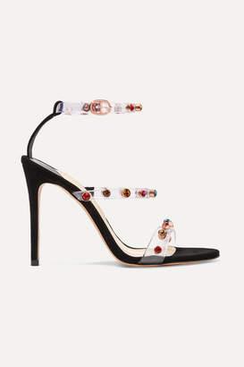Sophia Webster Rosalind Crystal-embellished Pvc And Suede Sandals - Black