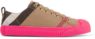 Burberry - Checked Canvas Sneakers - Light brown