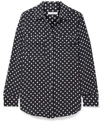 Equipment Slim Signature Polka-dot Washed-silk Shirt - Midnight blue