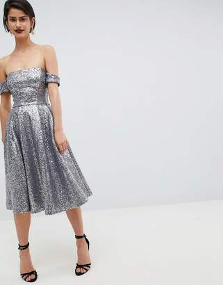 Sequin Bardot Midi Dress - Silver City Goddess Cheap Sale With Paypal Outlet Low Shipping Fee 9rM2YL2