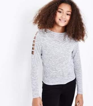 New Look Teens Grey Lattice Sleeve Jumper