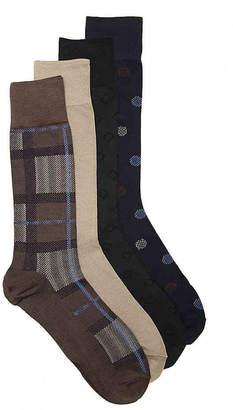 Perry Ellis Luxury Microfiber Plaid Crew Socks - 4 Pack - Men's