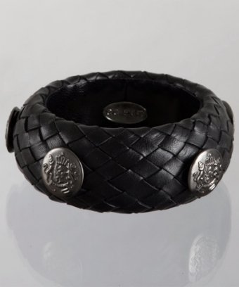 CC Skye black woven leather crest button bangle