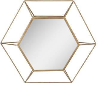 "STONEBRIAR COLLECTION Stonebriar Decorative Antique Gold 24"" Hexagon Metal Frame Hanging Wall Mirror with Mounting Brackets"