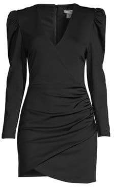 Alice + Olivia Judy Puff-Sleeve Ruched Faux Wrap Bodycon Dress