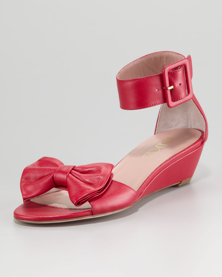 RED Valentino Calfskin Low-Wedge Sandal, Cherry