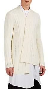 Comme des Garcons Men's Asymmetric Shredded Wool Cardigan - White