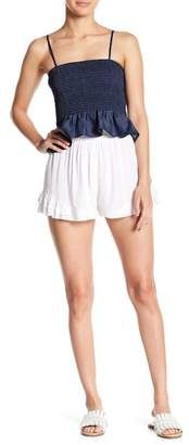 Pink Owl Ruffle Solid Shorts