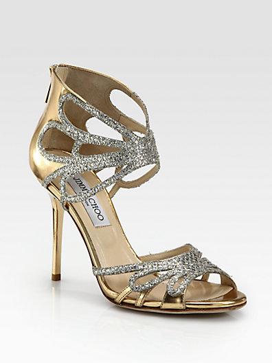 Jimmy Choo Melody Glitter & Metallic Leather Sandals