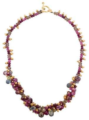 Laura Gibson Tourmaline, Ruby & Sapphire Bead Cluster Necklace