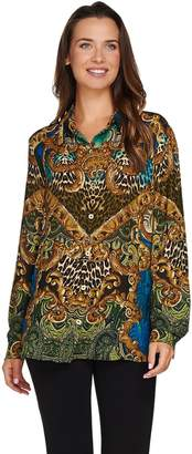 Susan Graver Printed Feather Weave Button Front Shirt