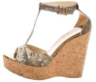 Jimmy Choo Leather T-Strap Wedge Sandals