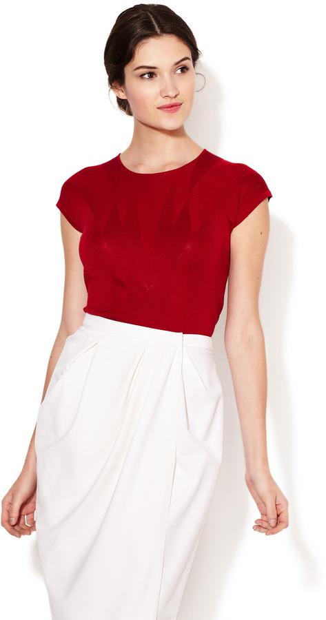 Carolina Herrera Silk Knit Pattern Top