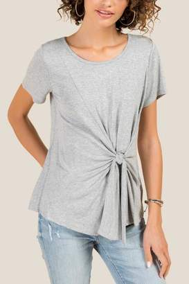 francesca's Heather Basic Side Tie Tee - Heather Gray