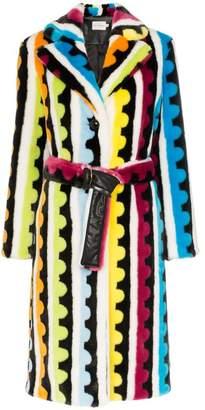 Mary Katrantzou stokes striped faux fur coat