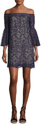 Trina Turk Lace Off-the-Shoulder Bell-Sleeve Shift Dress $328 thestylecure.com
