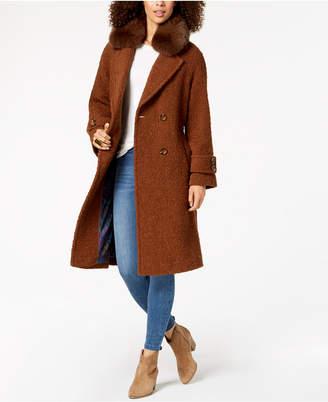 Trina Turk Double-Breasted Fur-Collar Coat