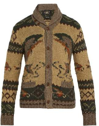 Rrl - Shawl Collar Wool Blend Cardigan - Mens - Brown Multi