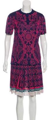 Mary Katrantzou Metallic Knit Skirt Set