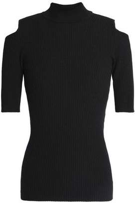 Autumn Cashmere Cold-Shoulder Ribbed Merino Wool-Blend Sweater